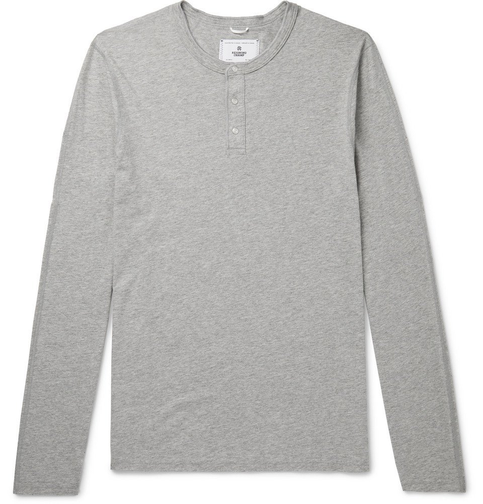 Photo: Reigning Champ - Cotton-Jersey Henley T-Shirt - Gray