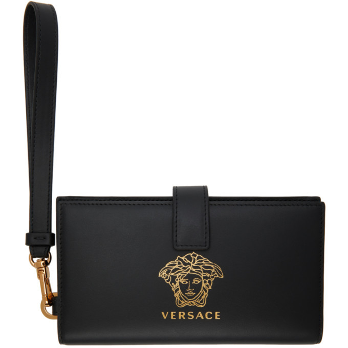 Photo: Versace Black and Gold Medusa Phone Pouch