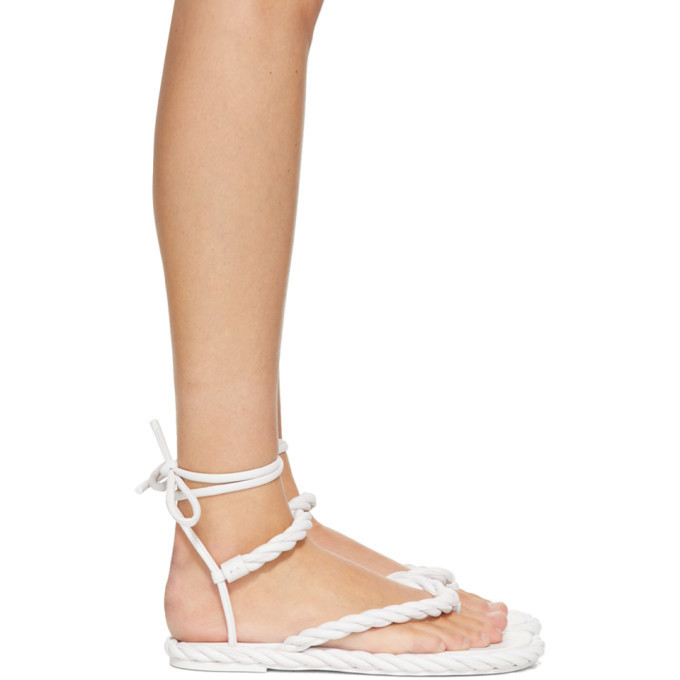 Photo: Valentino White Valentino Garavani The Rope Flat Sandals