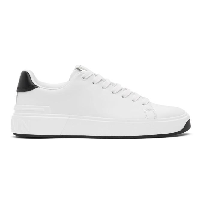 Photo: Balmain White and Black Leather B-Court Sneakers