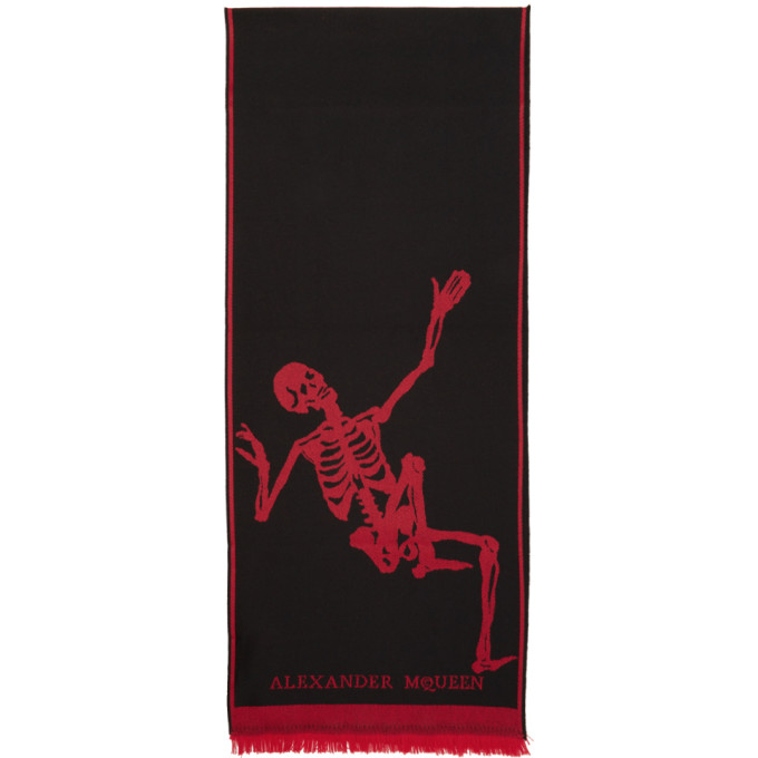 Photo: Alexander McQueen Black and Red Dancing Skeleton Scarf