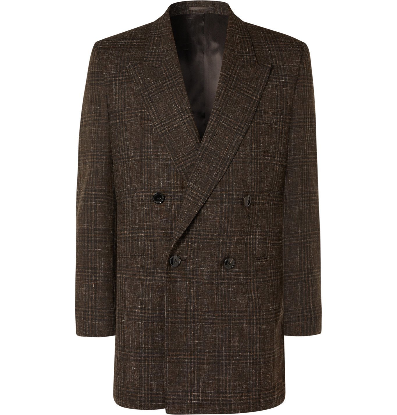Photo: Martine Rose - Double-Breasted Prince of Wales Checked Virgin Wool and Linen-Blend Suit Jacket - Brown