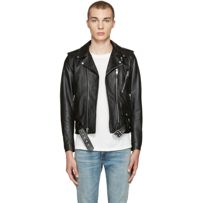 Photo: Saint Laurent Black Blood Luster Biker Jacket
