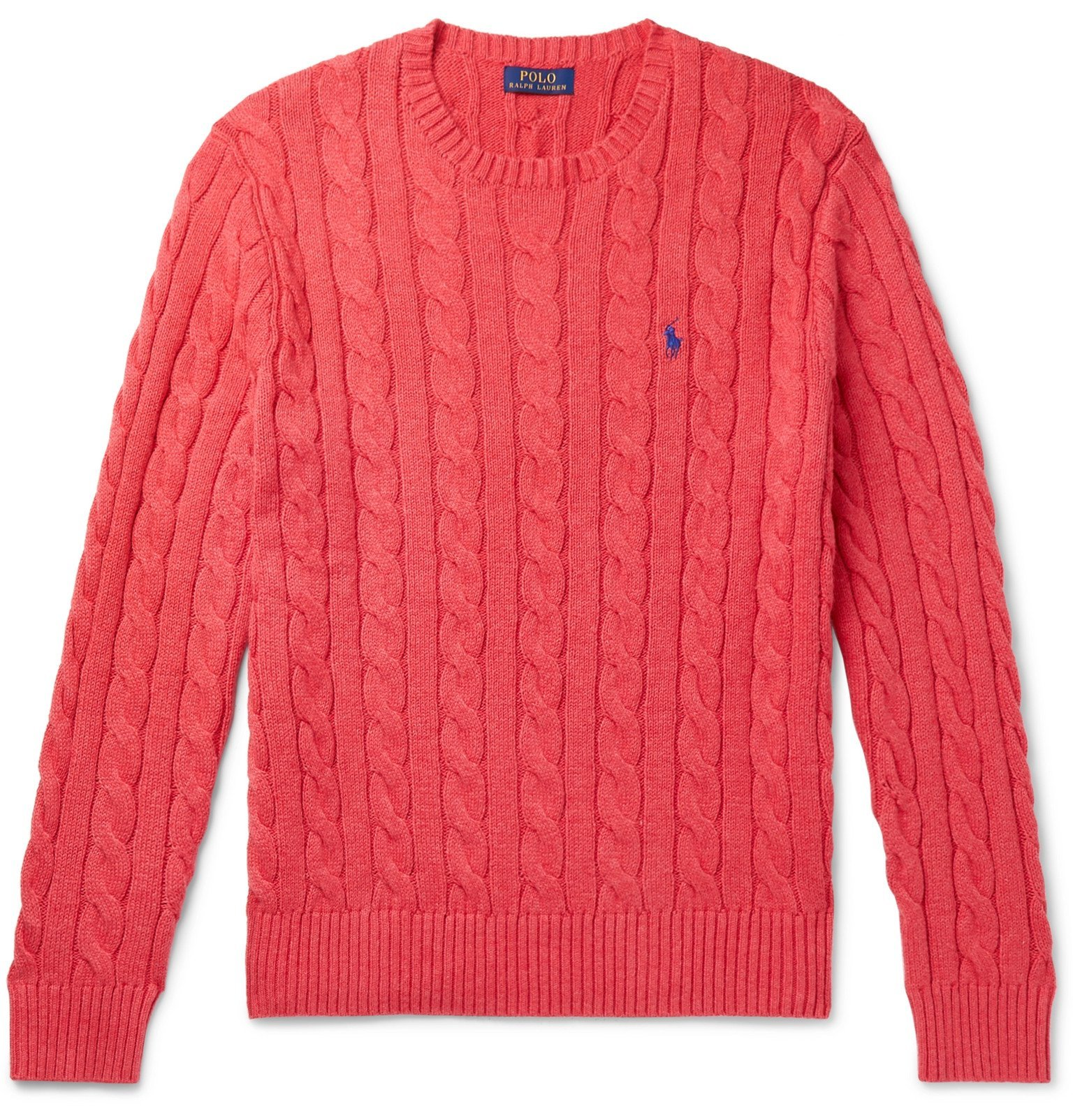 Photo: Polo Ralph Lauren - Cable-Knit Cotton Sweater - Red