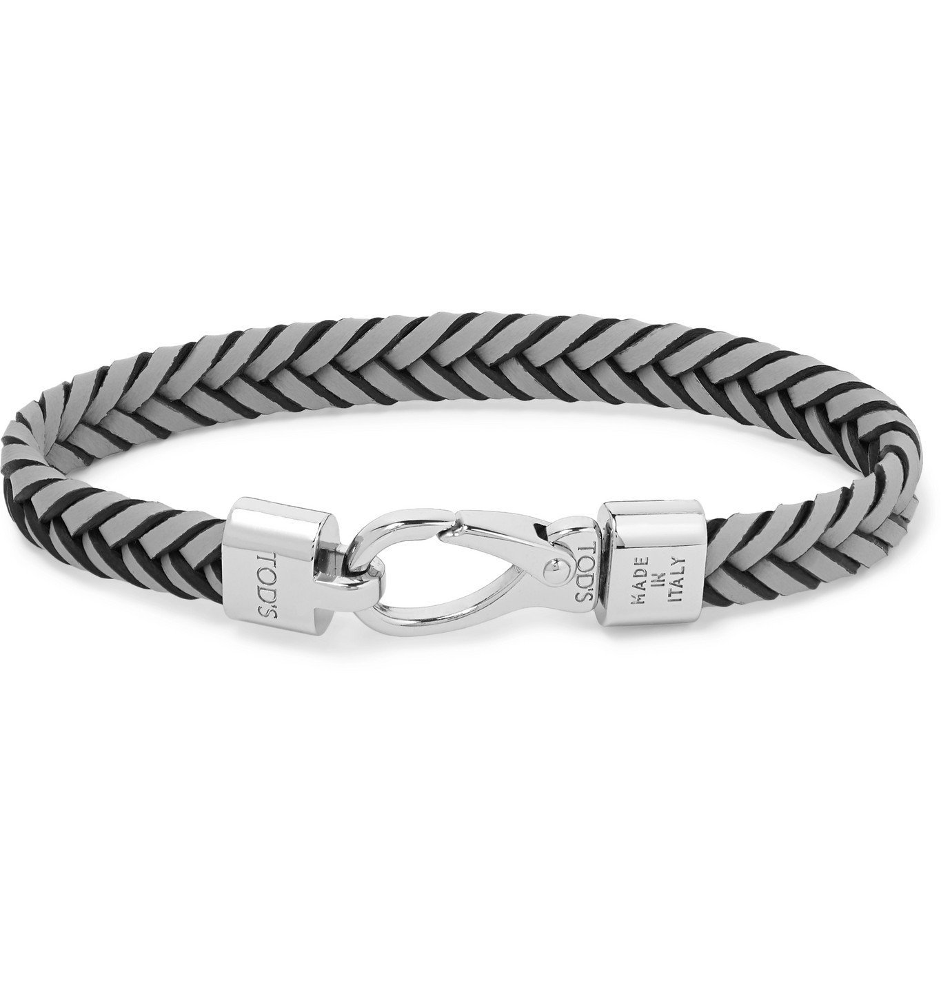 Photo: Tod's - Woven Leather and Silver-Tone Bracelet - Gray