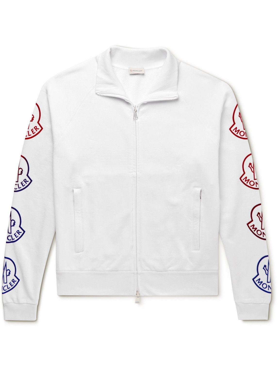 Photo: Moncler - Logo-Flocked Cotton-Jersey Zip-Up Sweatshirt - White
