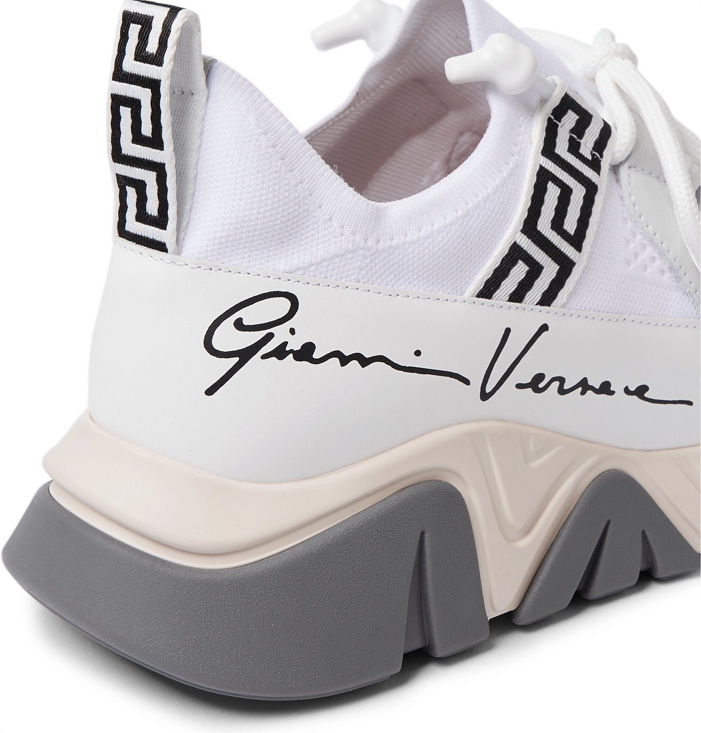 Versace - Logo-Print Webbing and Leather-Trimmed Mesh Sneakers - White