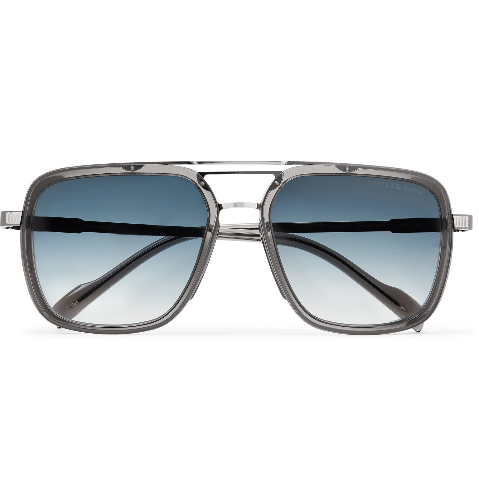 Photo: Cutler and Gross - Aviator-Style Acetate and Gunmetal-Tone Sunglasses - Gray