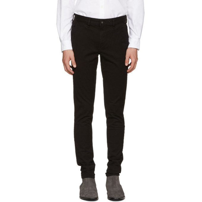 Photo: Rag and Bone Black Standard Issue Fit 1 Chino Trousers