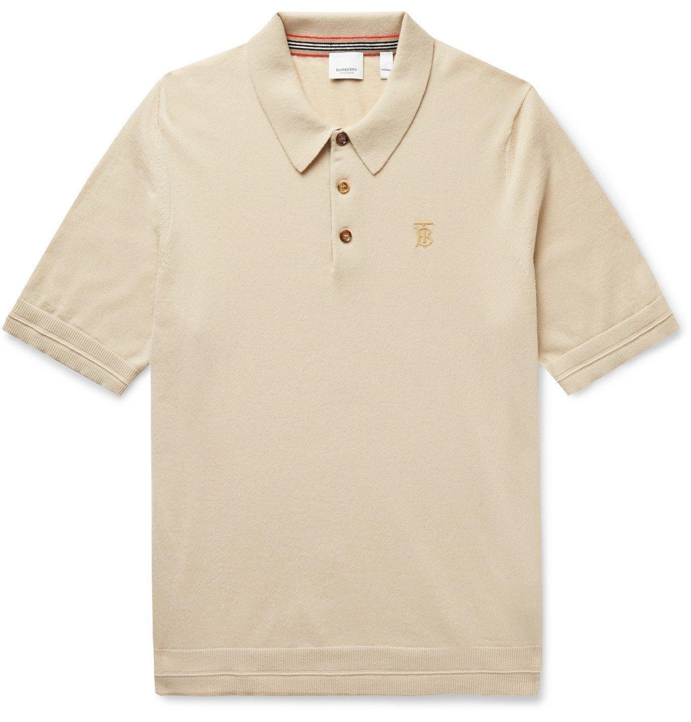 Photo: Burberry - Logo-Embroidered Cashmere Polo Shirt - Neutrals