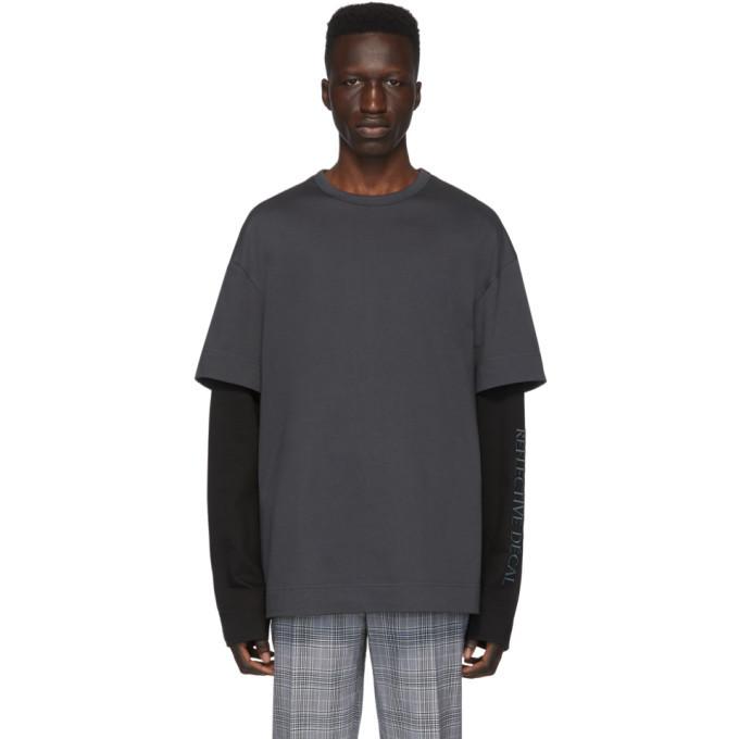 Photo: Juun.J Grey and Black Layered Long Sleeve T-Shirt