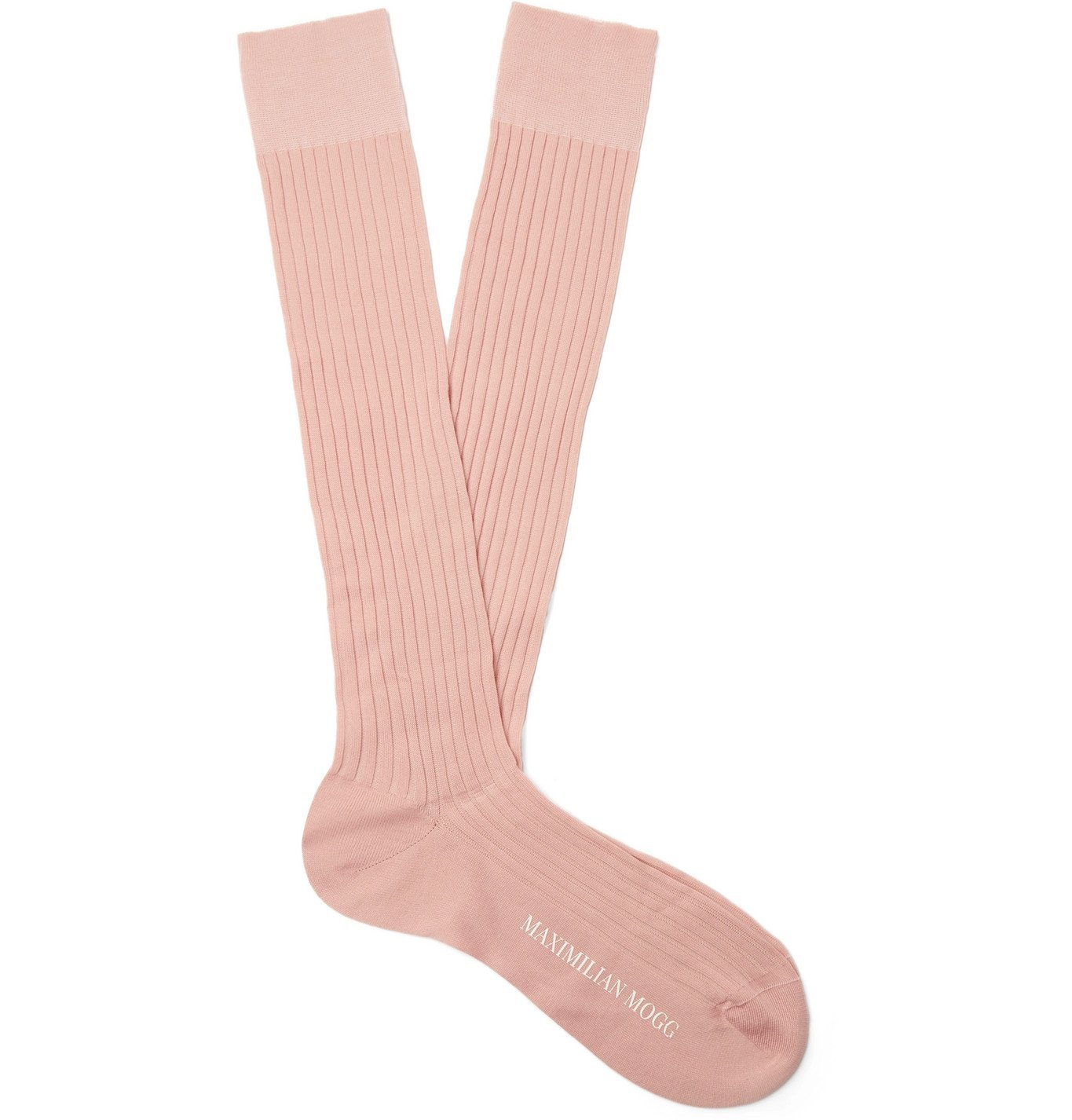 Photo: Maximilian Mogg - Ribbed Fil d'Ecosse Cotton-Blend Socks - Pink