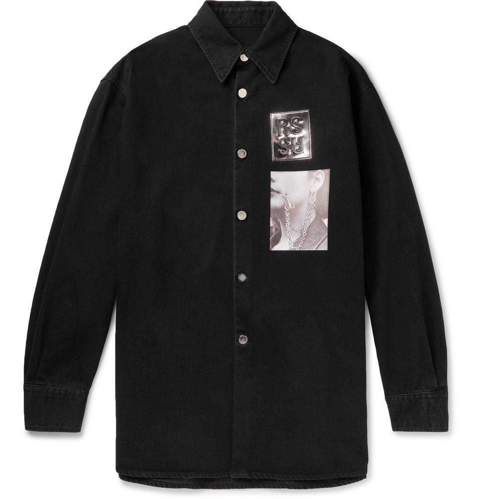Raf Simons - Oversized Appliquéd Denim Shirt Jacket - Men - Black