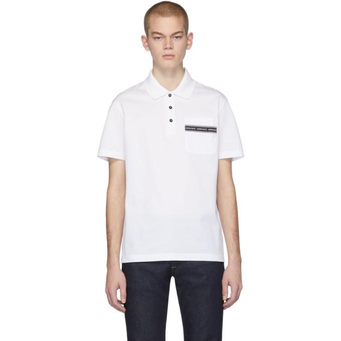 Photo: Versace White Pocket Logo Polo