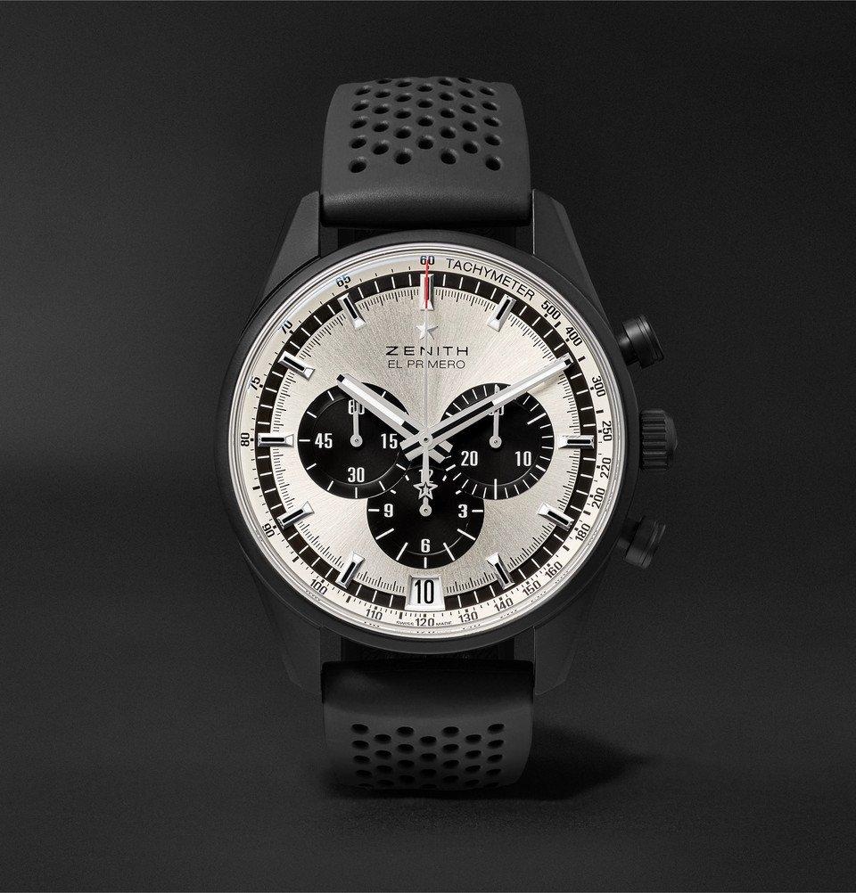 Photo: Zenith - El Primero Chronomaster 1969 42mm Ceramicised Aluminium and Rubber Watch - Silver