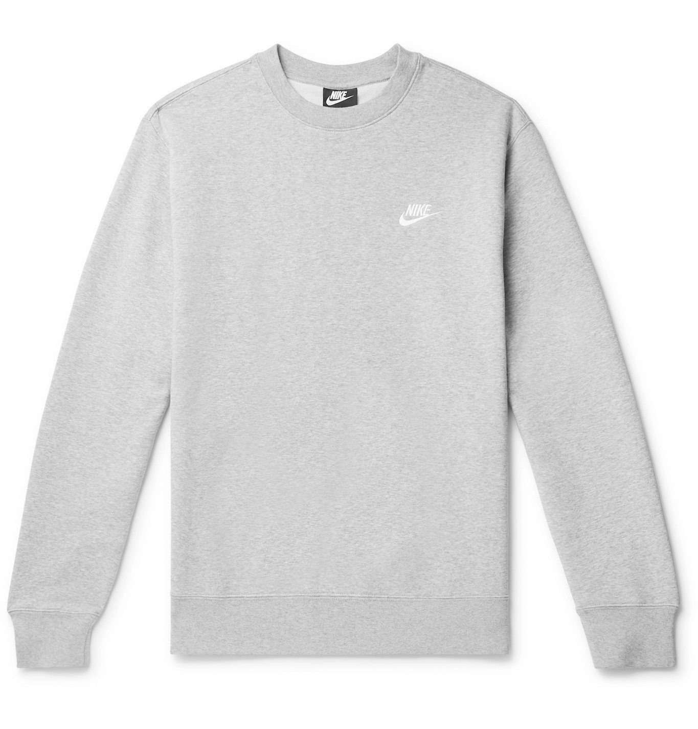 Photo: Nike - Logo-Embroidered Mélange Fleece-Back Cotton-Blend Jersey Sweatshirt - Gray