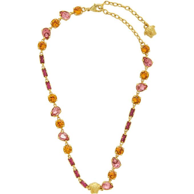 Versace Gold Crystal Mini Medusa Necklace