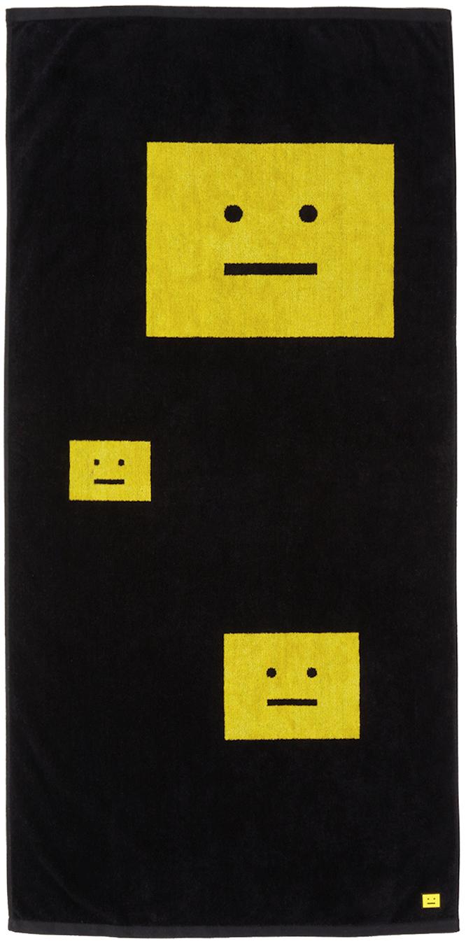 Photo: Acne Studios Black & Yellow Logo Towel