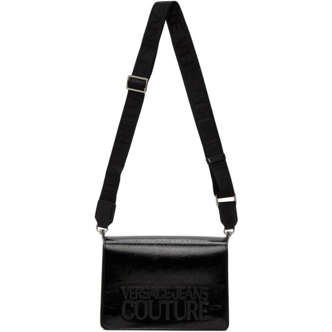 Versace Jeans Couture Black Patent Flap Bag