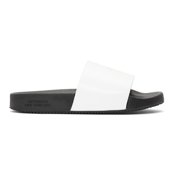 Photo: Saturdays NYC White Leather Banya Slides