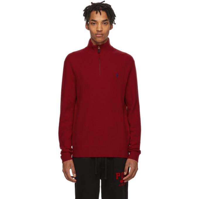 Photo: Polo Ralph Lauren Red Wool Half-Zip Sweater