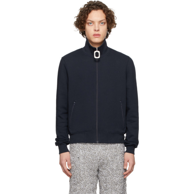 Photo: JW Anderson Navy Neckband Track Sweater