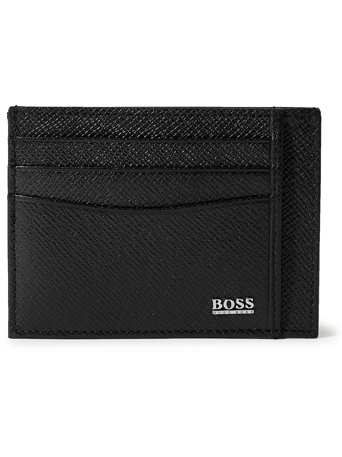 HUGO BOSS - Cross-Grain Leather Cardholder