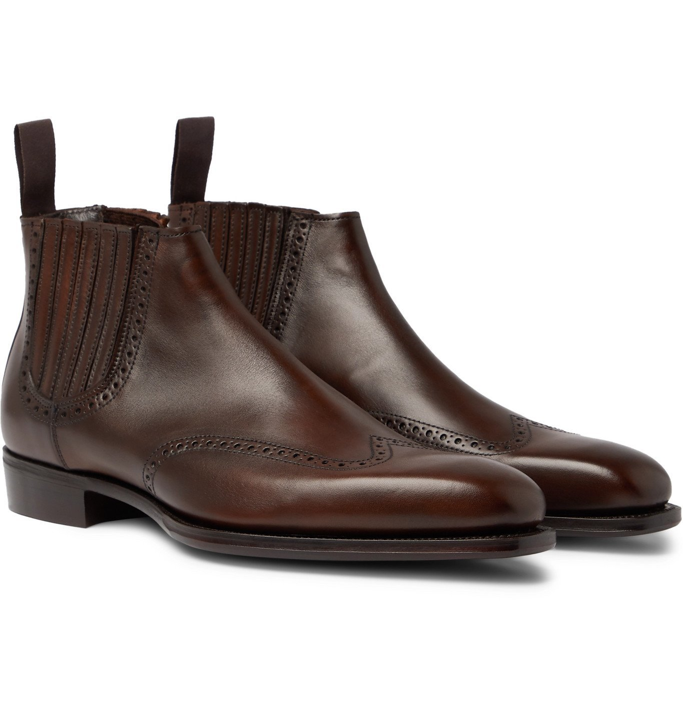 Photo: Kingsman - George Cleverley Veronique Leather Brogue Chelsea Boots - Brown