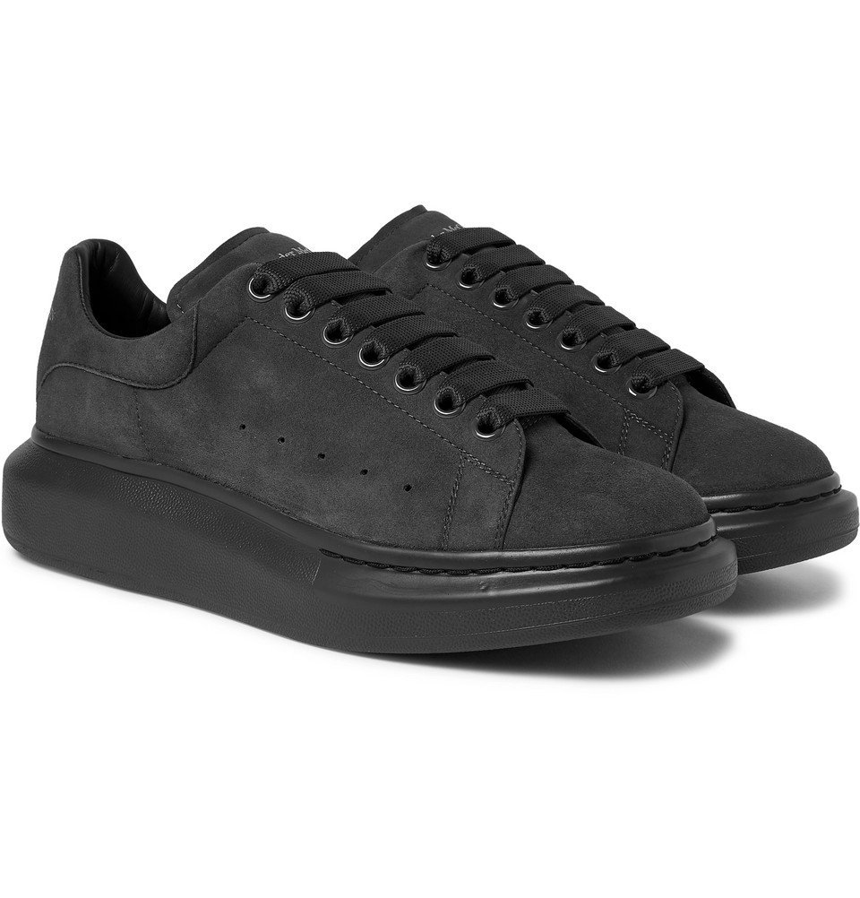 Photo: Alexander McQueen - Exaggerated-Sole Suede Sneakers - Gray
