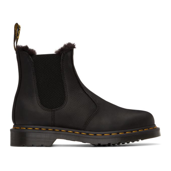 Photo: Dr. Martens Black 2976 Fur-Lined Chelsea Boots