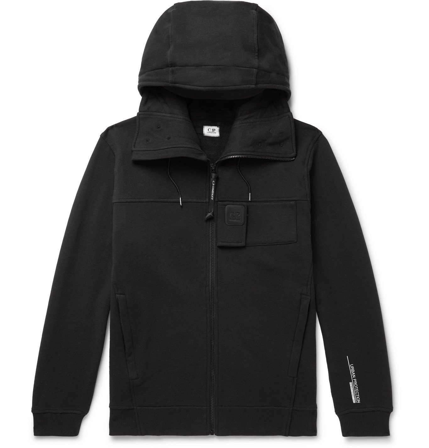 C.P. Company - Loopback Cotton-Jersey Zip-Up Hoodie - Black