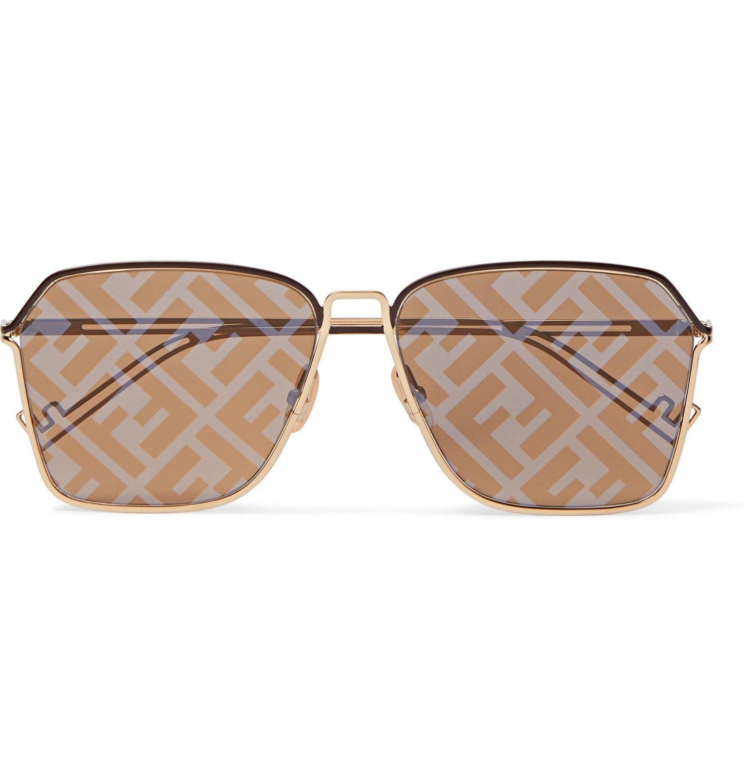 Photo: Fendi - Square-Frame Logo-Print Silver-Tone Sunglasses - Gold