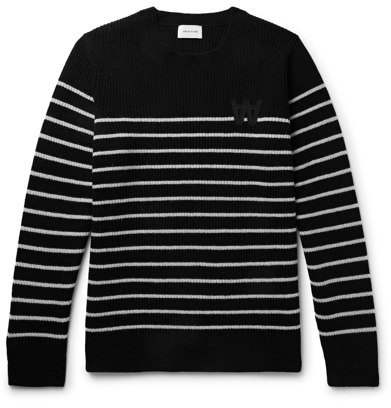Photo: Wood Wood - Louis Logo-Appliquéd Striped Wool-Blend Sweater - Black