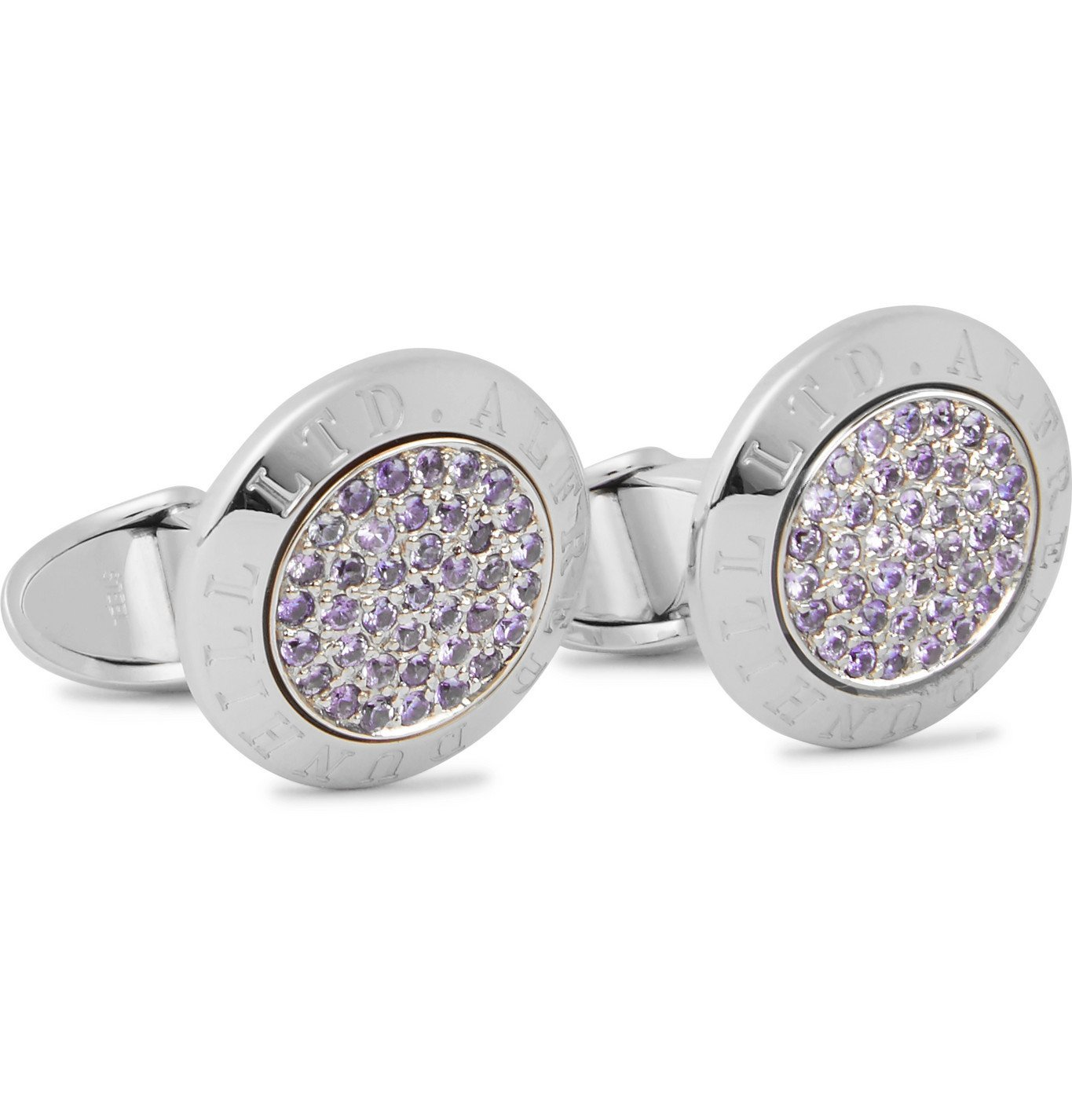 DUNHILL - Alfred Dunhill White Gold and Sapphire Cufflinks - White gold