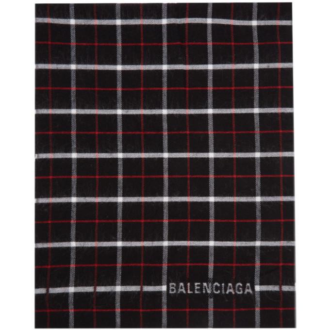 Photo: Balenciaga Black Check Double Face Scarf