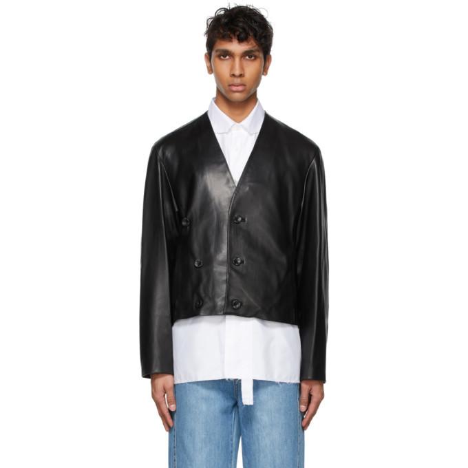 Photo: ADER error Black Leather Lean Jacket