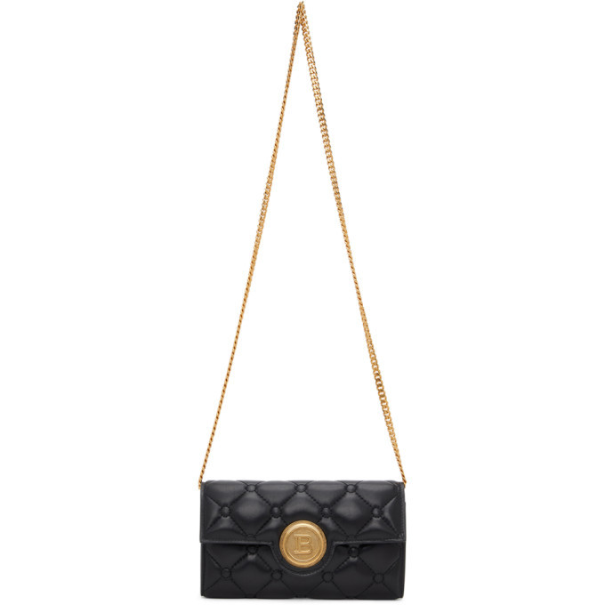 Photo: Balmain Black Pillow B-Wallet Chain Bag