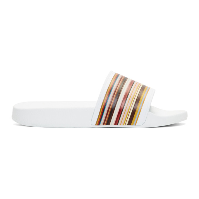 Photo: Paul Smith White Multistripe Ruben Slides