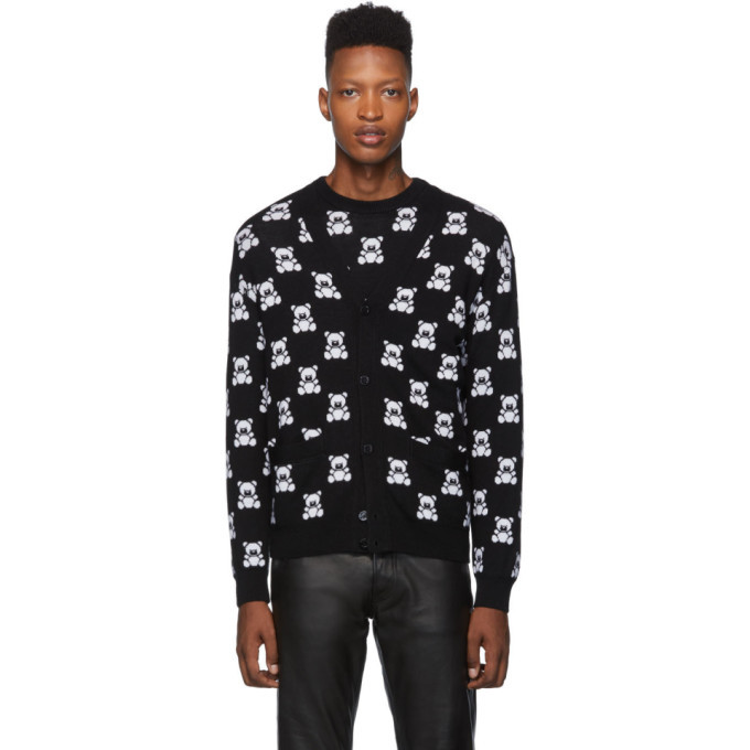 Photo: Moschino Black Jacquard Teddy Bear Cardigan