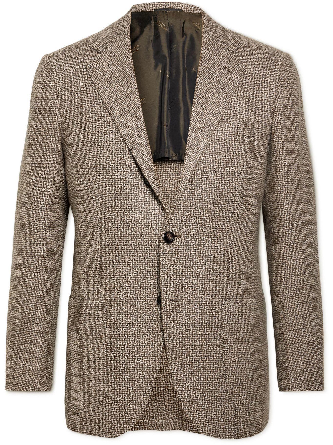 Photo: KITON - Unstructured Checked Wool Blazer - Brown