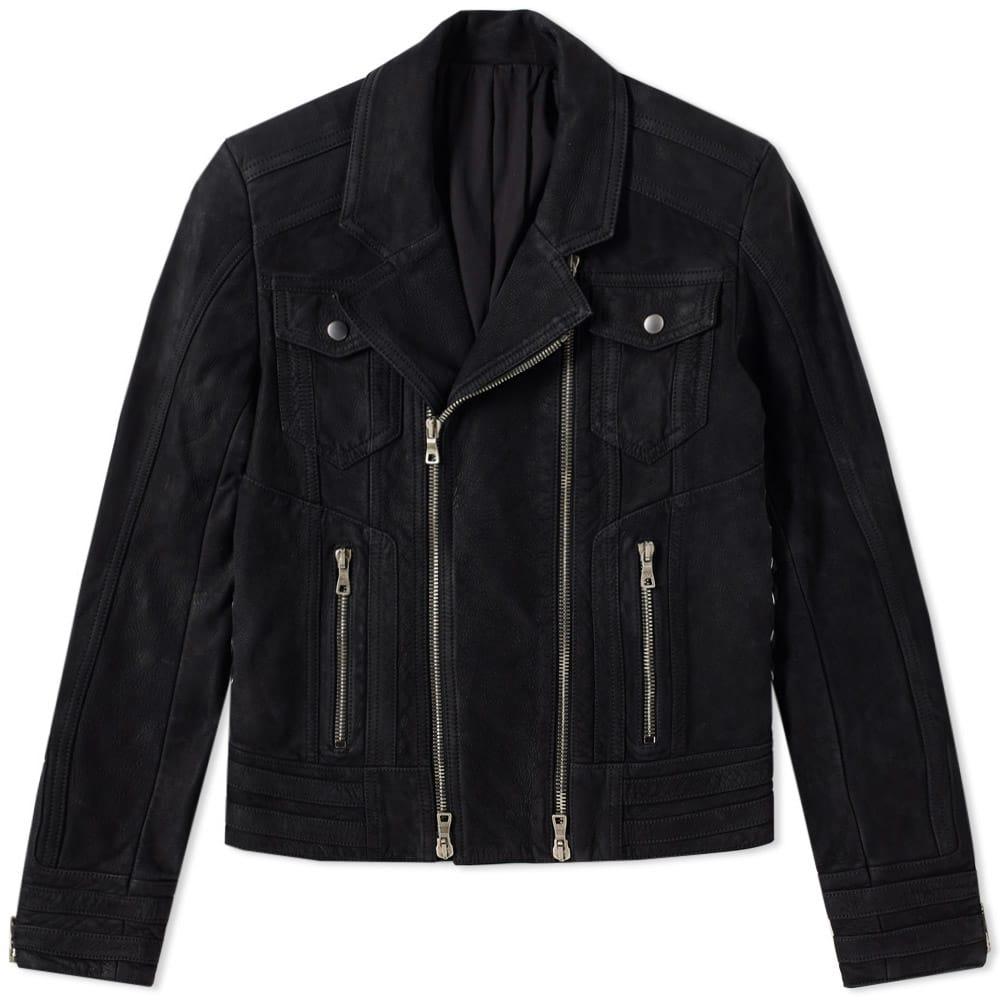 Photo: Balmain Suede Biker Jacket Black