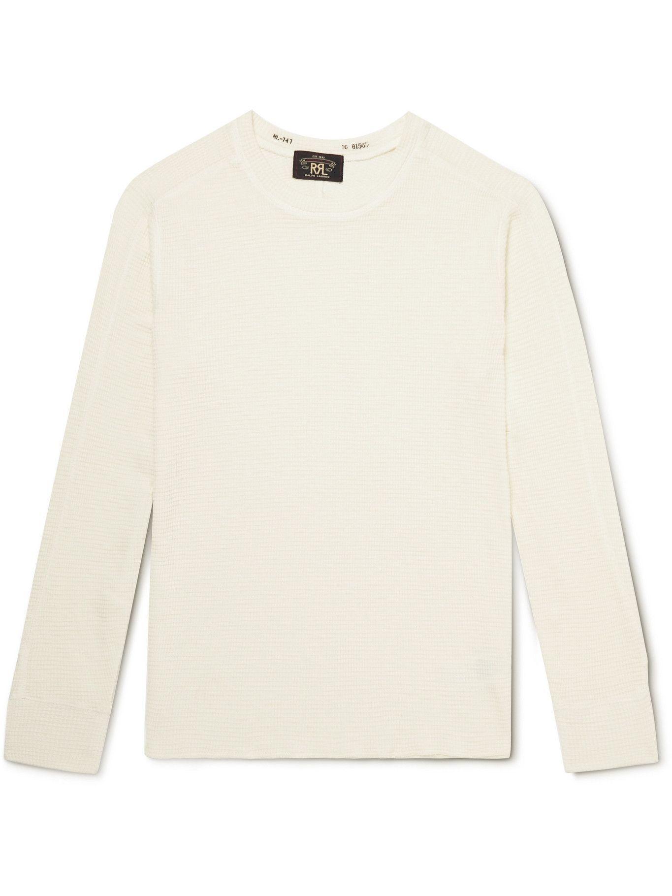 Photo: RRL - Distressed Waffle-Knit Cotton-Jersey T-Shirt - White