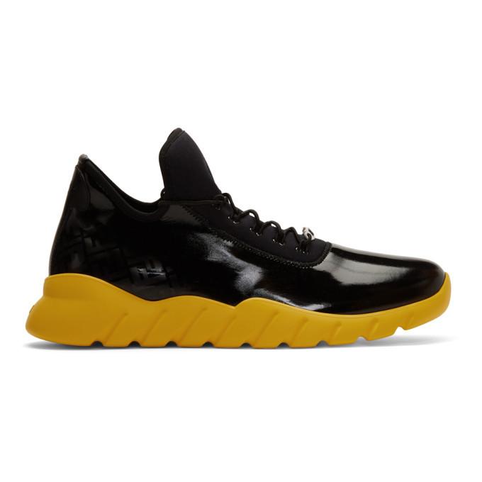 Photo: Fendi Black and Yellow Forever Fendi Runner Sneakers