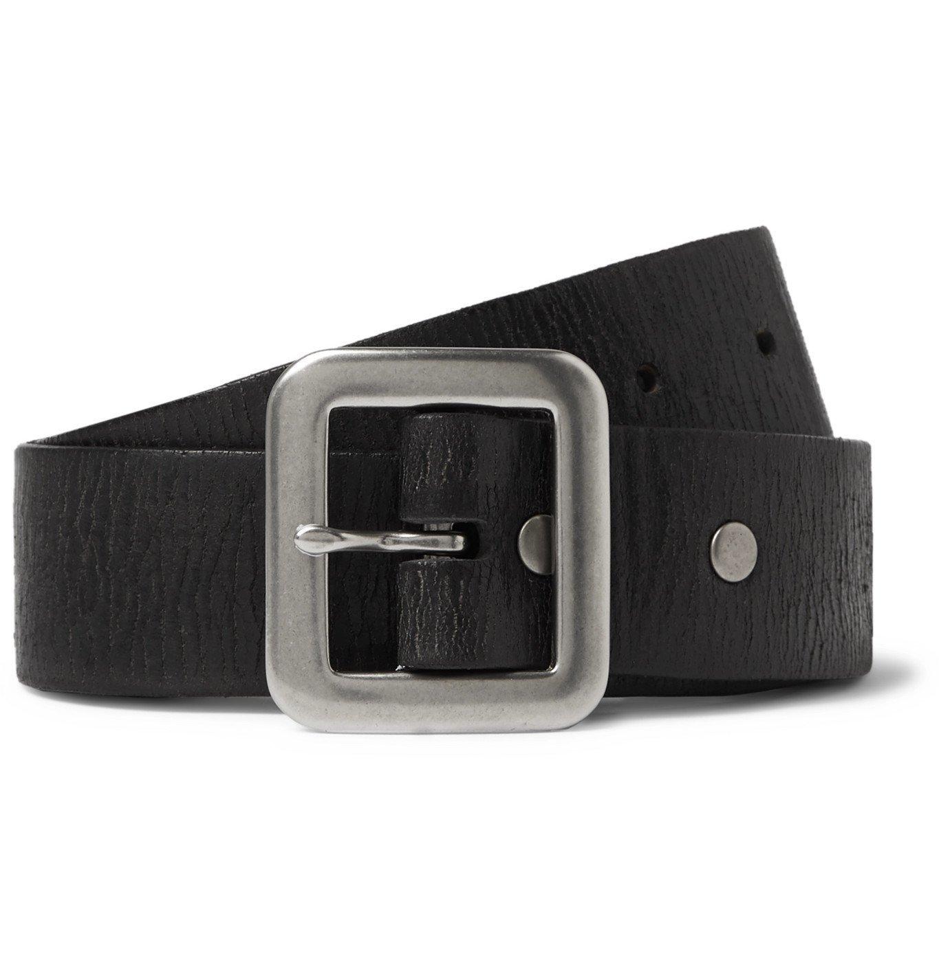 RRL - 3.5cm Burlington Distressed Leather Belt - Black