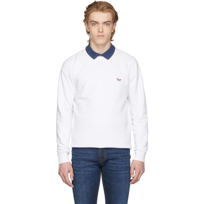 Photo: Maison Kitsuné White Tricolor Fox Patch Sweatshirt
