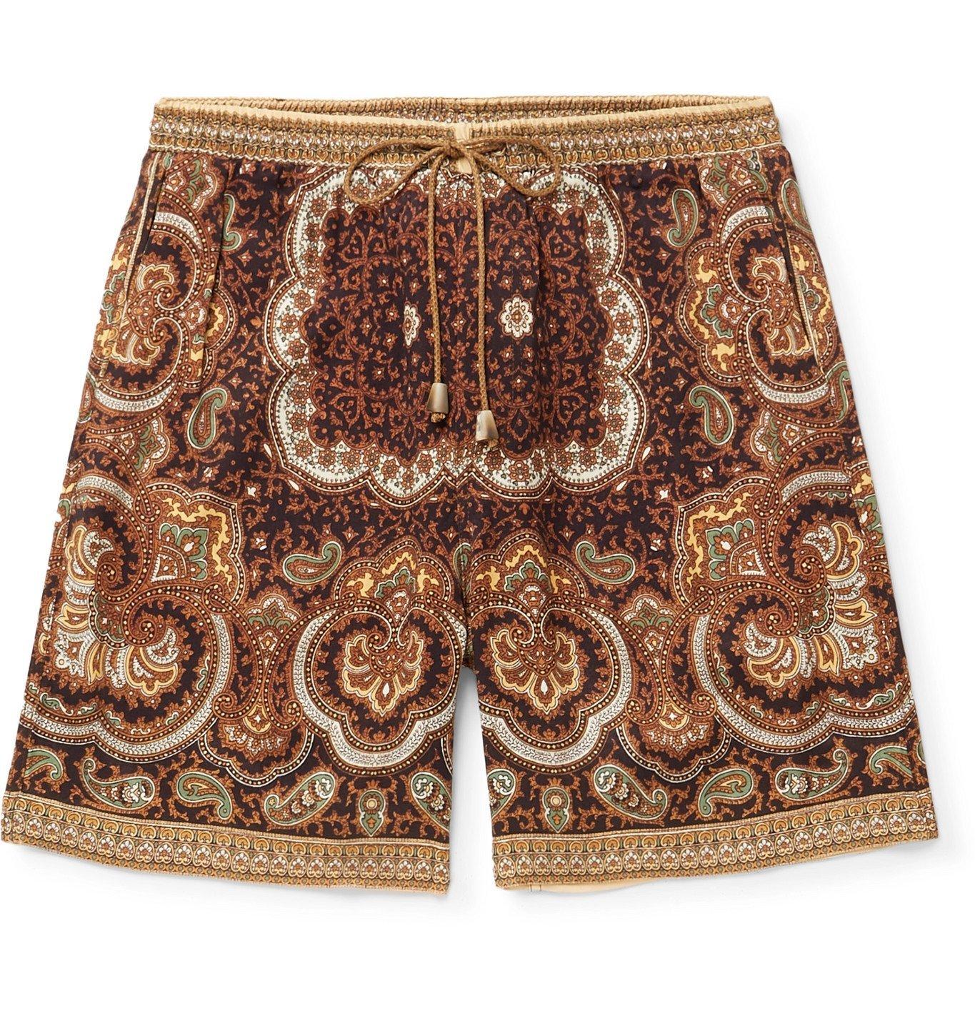 Photo: Nanushka - Doxxi Wide-Leg Printed Satin Drawstring Shorts - Brown