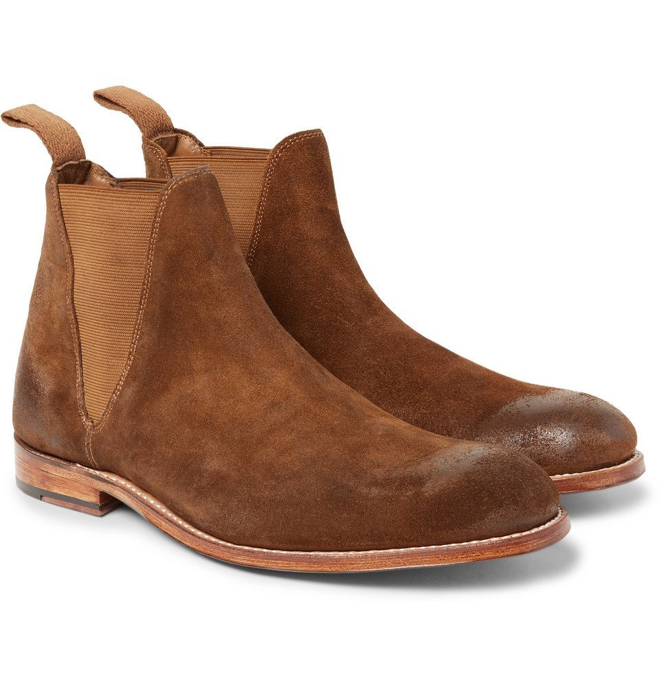 Grenson Nolan Burnished Suede Chelsea Boots Men Tan Grenson