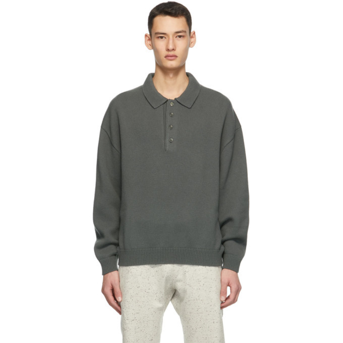Photo: Fear of God Ermenegildo Zegna Grey Knit Wool Polo