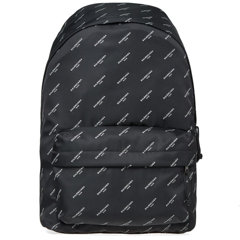Photo: Balenciaga All Over Logo Nylon Backpack