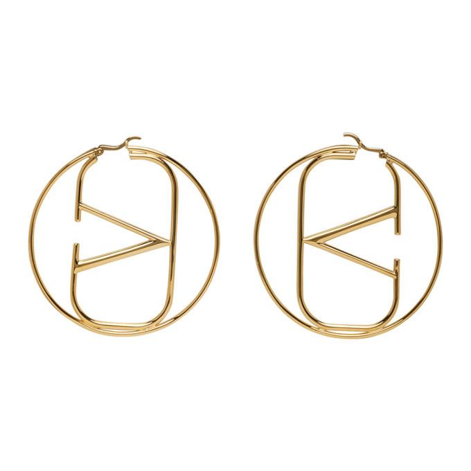 Valentino Gold Valentino Garavani VLogo Hoop Earrings